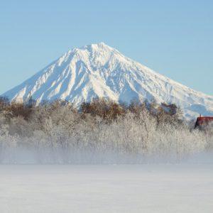koryaksky volcano, kamchatka, winter